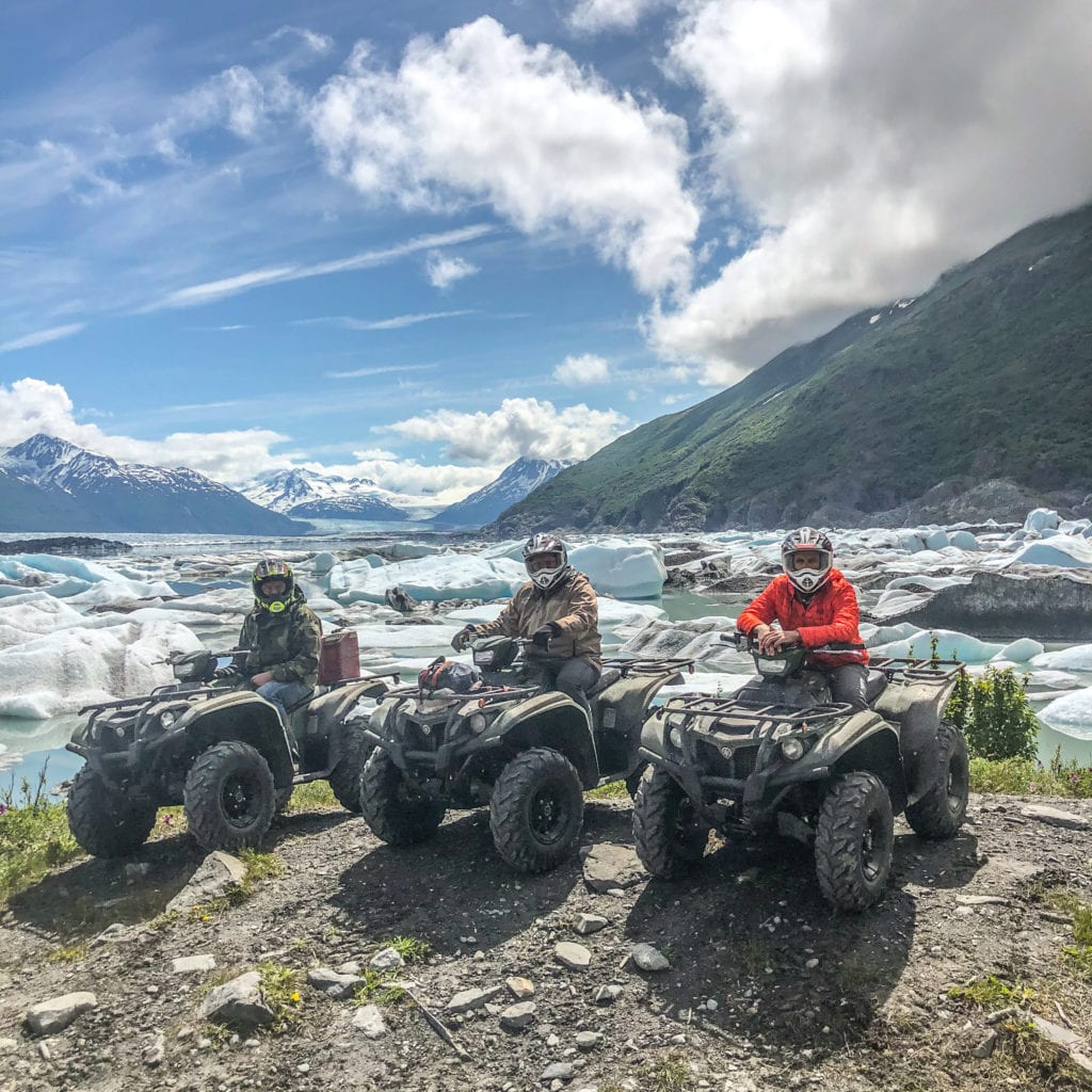3 ATS's sitting in front of the Knik Glacier